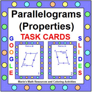 "PARALLELOGRAM PROPERTIES TASK CARDS:  ""GOOGLE SLIDES"", SMARTBOARD, POWERPOINT"