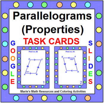 Parallelograms (Properties) - TASK Cards