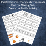 Parallelograms, Triangles and Trapezoids Area Missing Side Create the Riddle