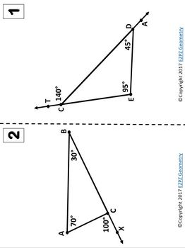 Parallels & Transversals, Angle Relations, Exterior Angle Theorem Station Match