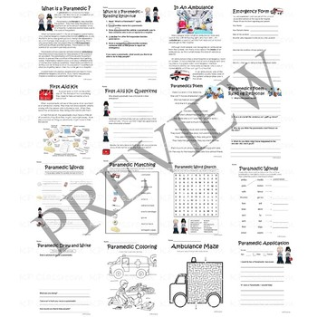 Paramedic and EMT Activity Packet and Worksheets