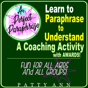 Oral Communication: Learn to Paraphrase 2 Understand ~ Activity Game & Template