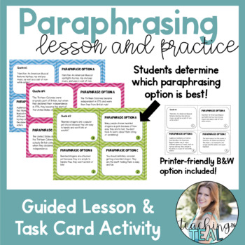 Paraphrase Lesson and Task Card Activity