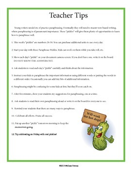 Paraphrase Pickles #26-#30 Daily Paraphrase Writing Exercises