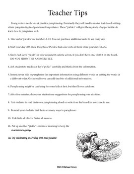 Paraphrase Pickles: Daily Paraphrase Writing Exercises #6-#10
