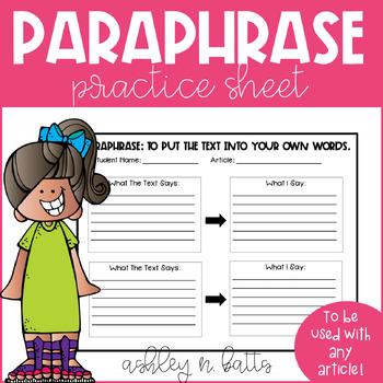 Paraphrase Practice Sheet