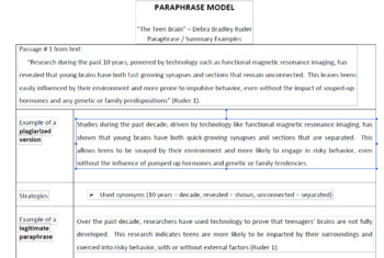 Paraphrase/Summarization Guide