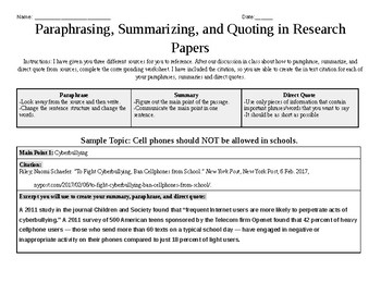 Paraphrases, Summaries, and Direct Quotes In Research Papers--Worksheet