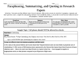 Paraphrases, Summaries, and Direct Quotes In Research Pape