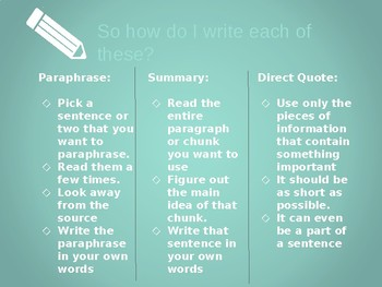 Paraphrases, Summaries, and Direct Quotes In Research Papers--Powerpoint