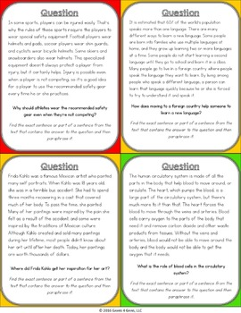 Paraphrasing Activity: Paraphrasing Text Reading Game
