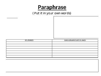 Paraphrasing Graphic Organizer