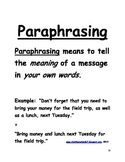 Paraphrasing Key Details in Sentences FREEBIE