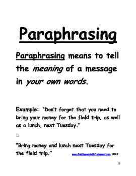 Paraphrasing Key Details in Sentences FREEBIE