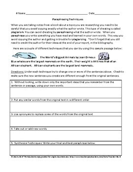 Paraphrasing Lesson, Poster, Task Cards, and Steps to Avoid Plagiarism