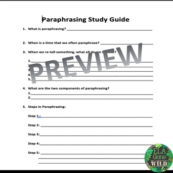 Paraphrasing Lesson- Powerpoint and Study Guide
