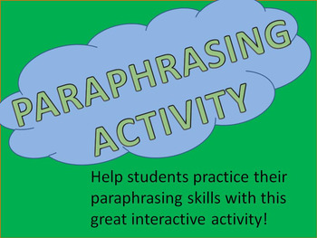 Paraphrasing Lesson and Activity