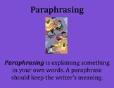 Paraphrasing Poster - Intermediate Elementary School Grades