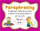 Paraphrasing Poster and Practice Page for Text Dependent Analysis