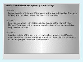 Paraphrasing PowerPoint Lesson