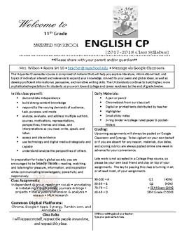 Class Syllabus - Editable Template