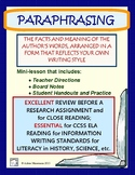 PARAPHRASING REVIEW Supporting Common Core Research & Writing