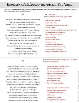 Paraphrasing Shakespearean Poetry