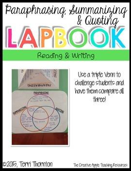 Paraphrasing, Summarizing and Quoting Lapbook