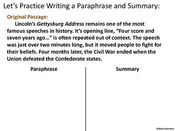 Paraphrasing, Summarizing, and Using Ellipses