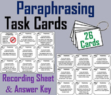 Paraphrasing Task Cards 2nd 3rd 4th 5th Grade Reading Comprehension Passages