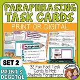 Paraphrasing Task Cards (Advanced Set for Grades 4-8)