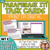Paraphrasing Task Cards (Advanced Set for Grades 4-8)