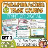 Paraphrasing Task Cards Beginner Set for Grades 2-4