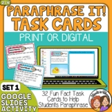 Paraphrasing Task Cards Beginner Set for Grades 2-4
