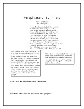Paraphrasing and Summarizing Lesson