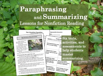 Paraphrasing worksheets unit