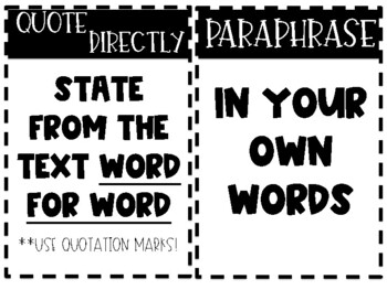 Paraphrasing v. Quote Directly: Helpful Display Posters