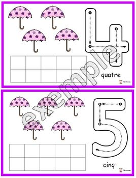 Parapluies: chiffres de 0 à 10