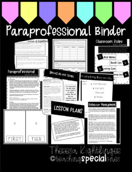 paraprofessional binder by teaching special ones tpt