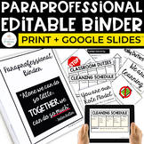 Paraprofessional Binder for the Special Education Classroom