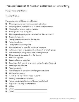 Paraprofessional Communication Sheet