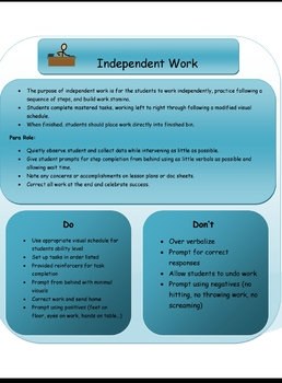 Paraprofessional Roles in the Multiple Disabilities classroom (Editable)