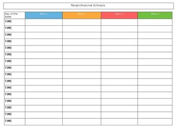 Paraprofessional Schedule Chart