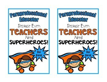 Paraprofessional Superhero Gift Labels {Freebie}