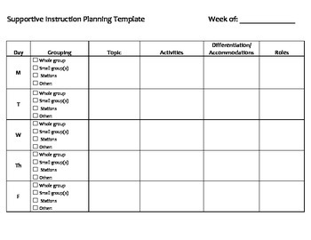 Paraprofessional Support Planning Template