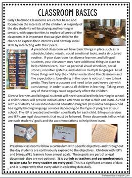 Paraprofessional Training Guide for a Preschool Classroom