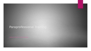 Paraprofessional Training for a PPCD Classroom