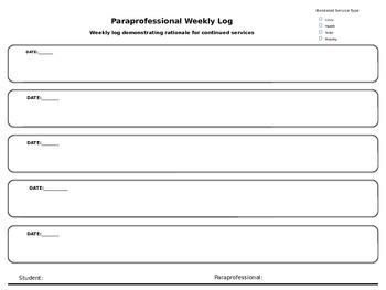 Paraprofessional Weekly Log