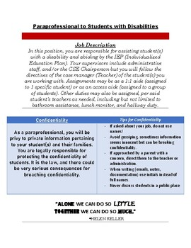 Paraprofessionals Outline of Duties and Responsibilities