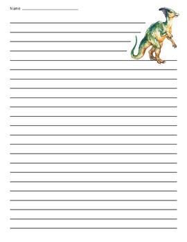 Parasaurolophus Dinosaur Lined Paper